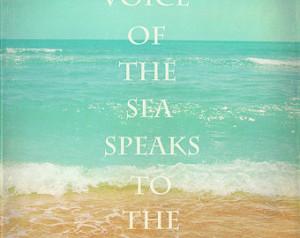 Beach Quote Art Print - Inspirational Aqua Tan Beach House Home Decor ...