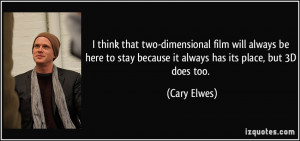 two-dimensional film will always be here to stay because it always ...