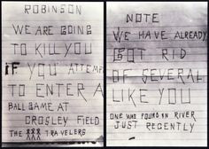 Example of hate mail received by Jackie Robinson. More