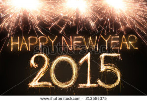 Happy new year 2015 written with Sparkling figures - stock photo