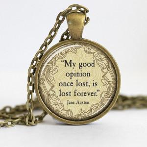 Jane Austen, Pride and Prejudice Necklace, Literature Pendant, Quote ...
