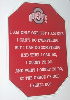 State Buckeyes Football. A sign hanging on the wall of the football ...