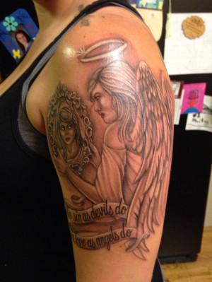 Angel vs devil , good vs evil tattoo with quote. Arm tattoo. LOVE my ...