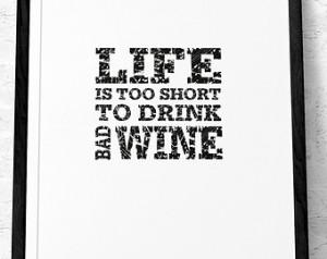 poster Wine quote p rint Quote poster Kitchen art Retro print. Life ...
