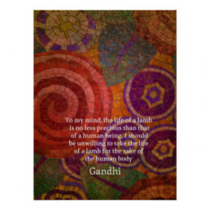 Inspirational Gandhi animal rights quote ART Print