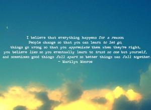life, littlepurplerose, marilyn monroe, quote, sky