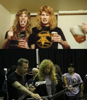 Funny photos funny James Hetfield Dave Mustaine before after