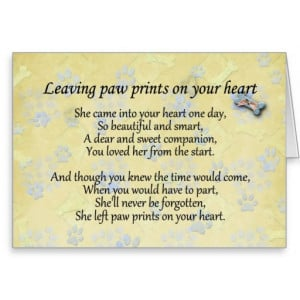 Pet sympathy card for pet loss - Leaving paw print