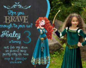 Merida birthday invitation invite Disney's Brave Disney Princess party ...