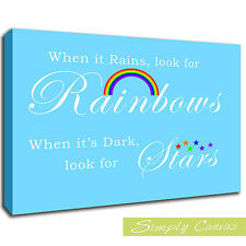 ... IT RAINS LOOK FOR RAINBOWS 2-Baby Blue-QUOTE Canvas Art Wall Print (A
