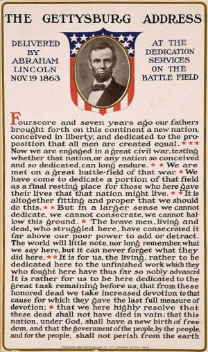 Printable Copy Of The Gettysburg Address