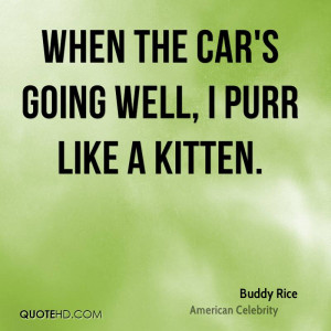 When the car's going well, I purr like a kitten.