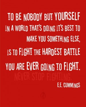 ee cummings quote - Never Stop Fighting - Wall Art Quote Archival ...
