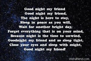 Good Night Poems Friend