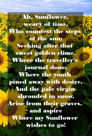 William Blake's Ah Sunflower poem image. Share from this happy ...