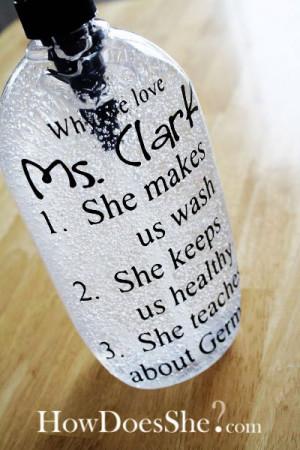 Add ribbon. The bigger bottle is hand sanitizer.