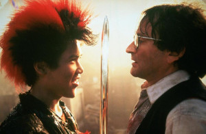 ... Rufio in a scene opposite Robin Williams' adult Peter Pan in 'Hook