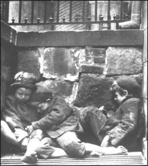 Children sleeping in Mulberry Street