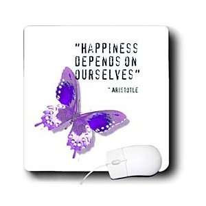 Happiness Quote Purple Butterfly Inspiration Spirituality Mouse Pads