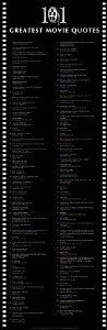 101 Movie Quotes Classic Movie Poster Print 12x36