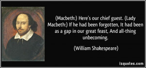 Macbeth:) Here's our chief guest. (Lady Macbeth:) If he had been ...