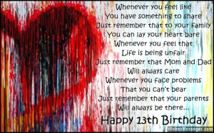 Happy 13th Birthday Quotes For Niece ~ 13th Birthday Wishes for Son or ...