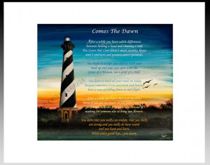 Lighthouse Poem Comes the Dawn by ArtistEmilyTerrell on Etsy