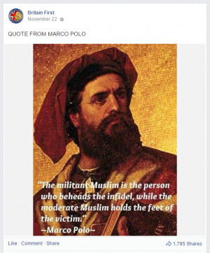 Britain First Marco Polo quote