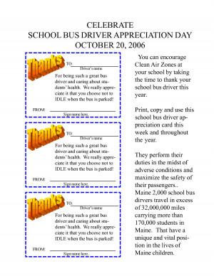 CELEBRATE SCHOOL BUS DRIVER APPRECIATION DAY OCTOBER 20, 2006