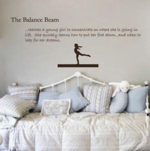 Gymnastics Decal Balance Beam Sticker - Girls Wall Quote