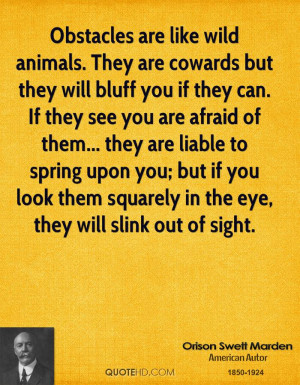 Obstacles are like wild animals. They are cowards but they will bluff ...