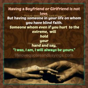 Having A Boyfriend Or Girlfriend Is Not Love..