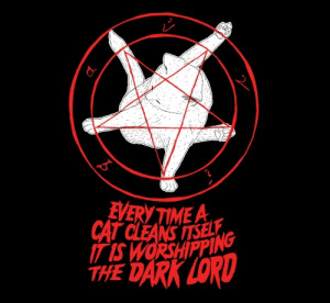 Cat Pentagram Evil Cleaning Satan Worship T-Shirt Kitty