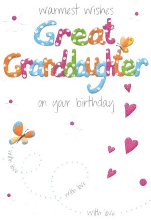 Warmest Wishes Great Granddaughter (Large Card)