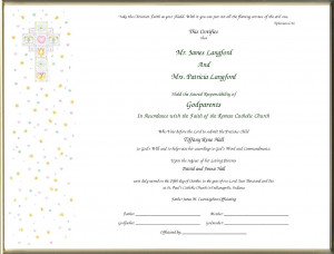 Dedication Certificate For Godparents Templates picture