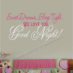 sweet dreams nursery wall quote wish your baby a very special sweet ...