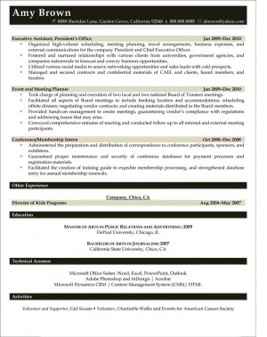 Arts, Entertainment and Media Resume Samples