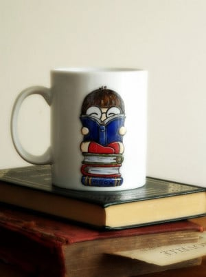 Book-loving cartoon girl with glasses reading on top a stack of books ...