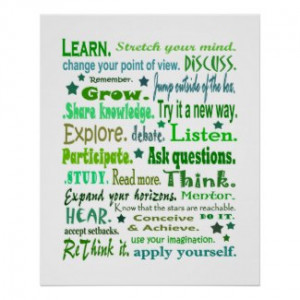 Words of wisdom poster. Learning collage print. by margiehurd