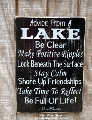... Lake Gift - Lake Life Sayings Quotes on Wood - Lake Rules Rustic