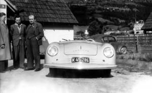 Porsche 356 Speedster with Erwin Komenda, Ferry Porsche, and Ferdinand ...