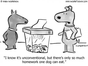 Dog Cartoon Of The Week:There's Only So Much Homework One Dog Can Eat