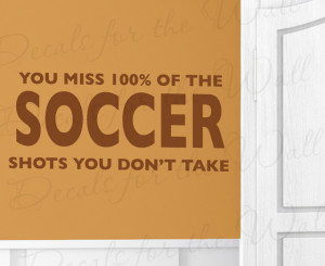 Wall Decal Art Vinyl Quote Sticker Large Soccer Shots Boy's Sports ...