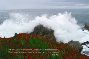 Ocean waves crushing on boulders accompanied by Rumi quote: