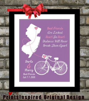 Going Away Gift for Best Friend: Personalized Quote Art Map Popular ...