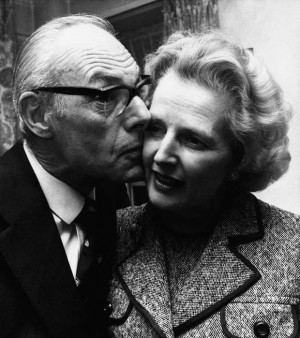 Margaret Thatcher gets a kiss from her husband Denis in London, Feb. 4 ...