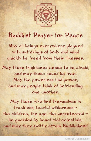 Buddhist prayer for peace quotes