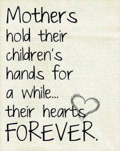 Mothers hold their childrens hands
