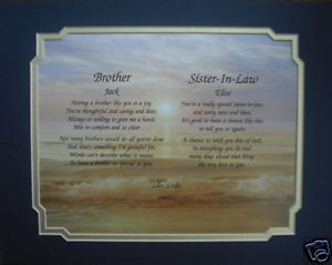 Brother Sister in Law Personalized Poem Gift Idea | eBay