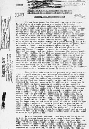 The first page of the MAUD Committee report, March 1941.